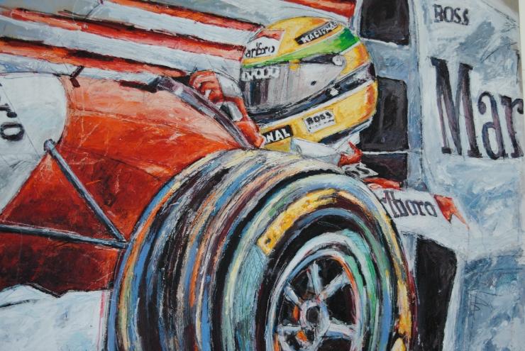 Close-up sobre uno de los cuadros que se pintaban en vivo durante los dias de la carrera